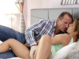 Shaved pussy mom has intense fucking with partner