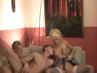 Bisexual dude spunks tits