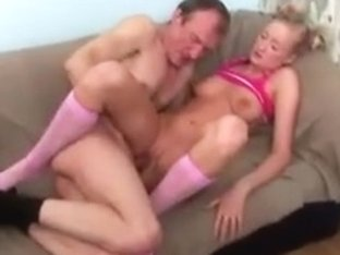 Blonde sexy young bitch fucks an old chap like a stoat.