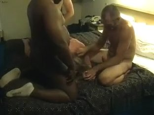 Amateur granny with blonde hair is getting boned by me, my black friend, and some pale dude, at th.