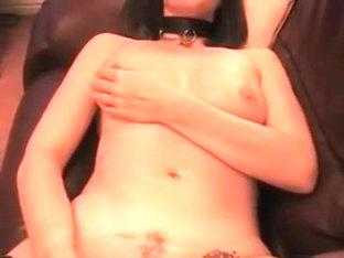 Tiny darksome brown girlfriend in hot black stockings masturbating