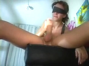Skinny blindfolded college girlfriend blows my cock deep