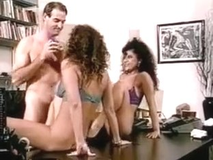 Passionate office threesome starting with a lesbian game