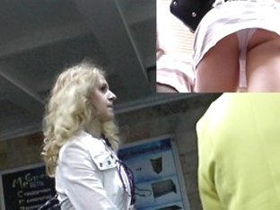 Hirsute golden-haired angel is a heroine of upskirt movie scene