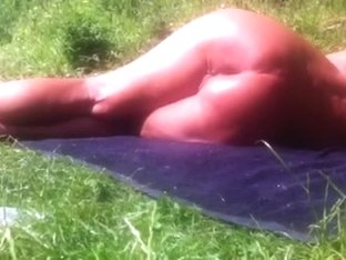 Old woman naked outdoor