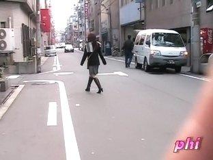Street sharking exposes sexy black panties on a Japanese gal