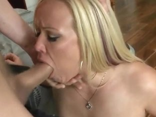 Chris Johnson fucks appetizing blonde woman Austin Taylor in the mouth and pussy