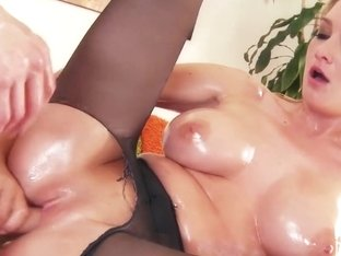 Busty stockings babe at massage assfucked