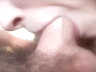 Close-up video of a young blonde giving tender blowjob