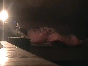Gal is lying in bed in my amateur voyeur porn
