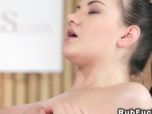 Busty brunette screws after massage