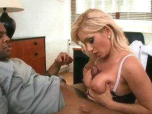 Hot blonde Lee Lexxus bangs with black man
