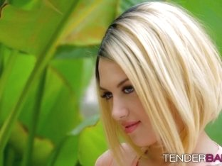 Kinky blonde babe with tattoos Emma Mae masturbates outdoors