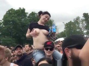 Wild girls flashing their tits festival
