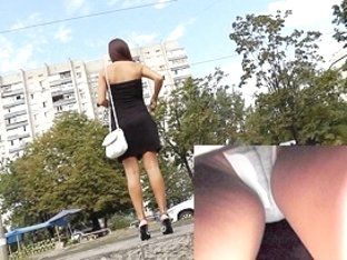 Hot upskirt hotty in mind boggling heels