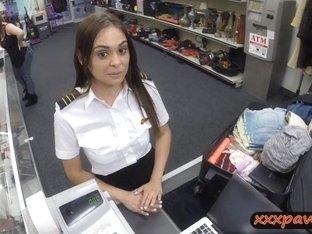 Sexy latina stewardess sucks and fucked in pawnshops toilet