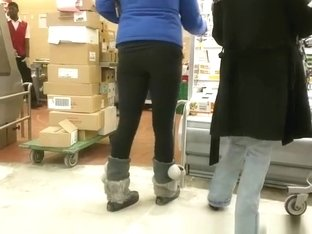 Girl in black leggings checking some meat