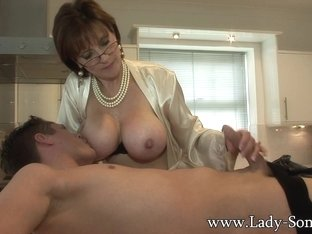 Lady Sonia gives young worker blowjob facial cumshot - LadySonia