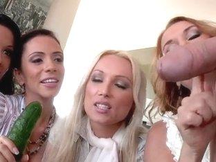 Jordan Ash gets caressed by clothed women