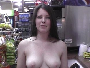 hot brunette naked in restaurant, gas station