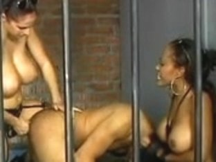 Breasty dark brown police makes prisoner engulf a massive thong on