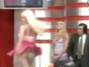 Super hot blonde in short skirts playing bowling