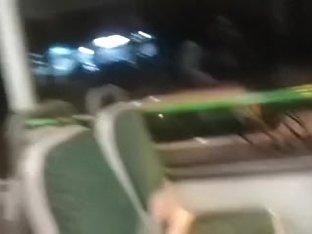 Baby flashing her stockings, panties and milk sacks in a bus