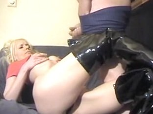 Blondie loves leather and dicks