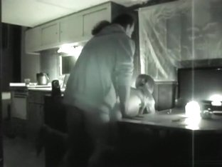 Nightvision sextape in the kitchen
