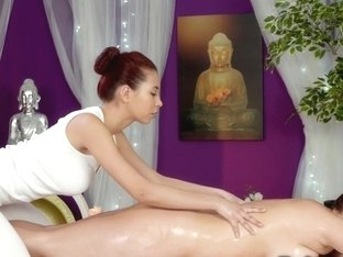 Redhead masseuse oils and fucks busty brunette