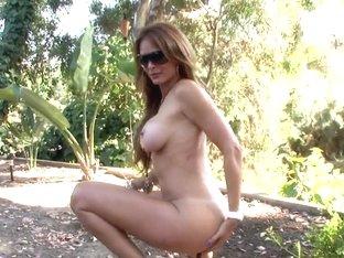 Busty big ass whore Monique Fuentes teases outdoor
