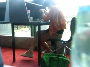 Candid Asian MILF Shoeplay Dangling Feet at Library
