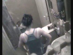 Dark haired beauty hidden shower video