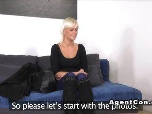 Mature blonde fucks for model licence