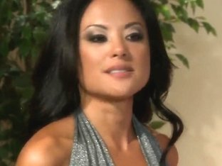Sex starved asian Kaylani Lei gets nude and gives head