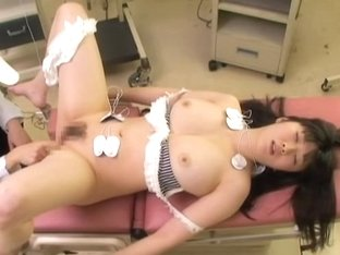 Busty chavette gets a creampie in spy cam medical video