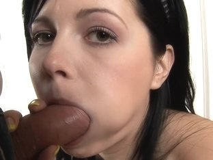 Brunette with big tits puts a sex pump on her big pussy