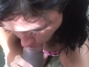 Blowjob in front of waterfall