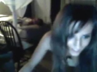 Brunette american girl dances and teases naked in her bedroom on cam
