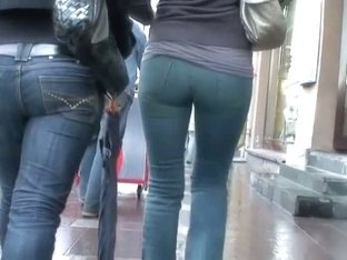 Hidden street cam shot of a perky and big ass in tight jeans