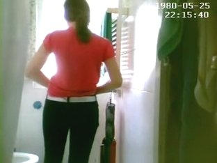 Girl peeing and changing clothes