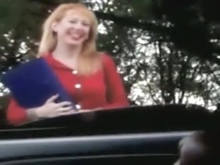 Cute ginger lady watches him jerk off in the car