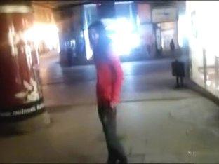 Drunken cutie pissing on a public sidewalk