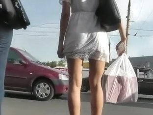 Hot upskirt clip shows a girl's perfect young ass