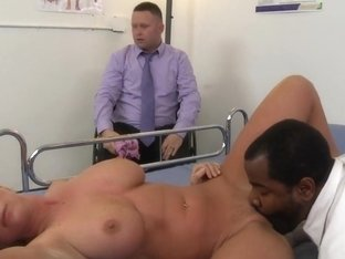 Horny blonde with big tits does professional blowjob