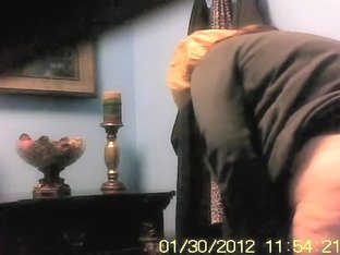 Fatty granny gets on the toilet spy cam with cellulites ass