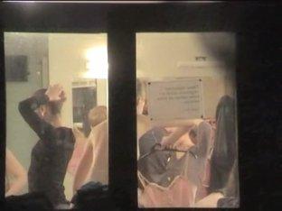 Cute ballet dancers voyeured half nude through the window