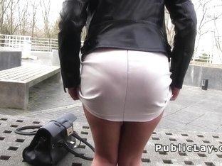 Babe flashing panties upskirt outdoors