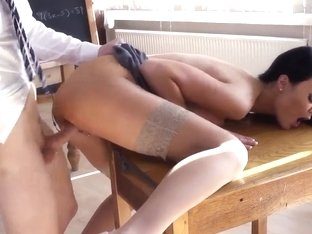 Jasmine Jay is fucked from behind in class