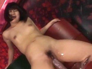 Tiny oriental dilettante vs large dildos